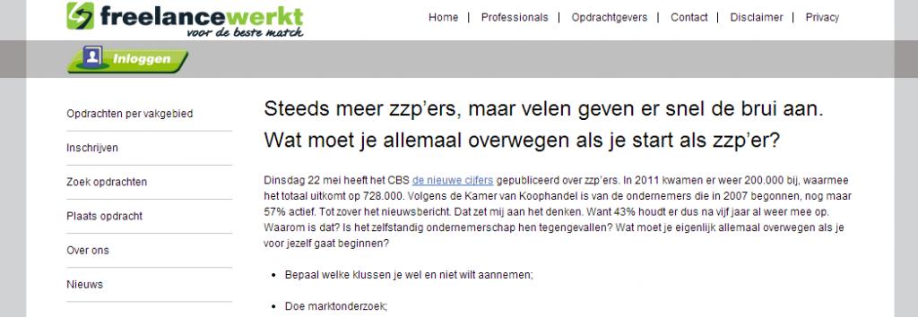 Project social media voor Freelancewerkt.nl